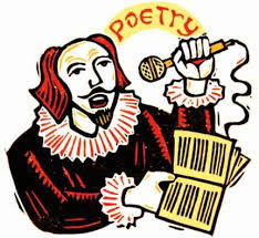 Illustration of William Shakespeare holding a microphone and reading poetry aloud from a pamphlet.